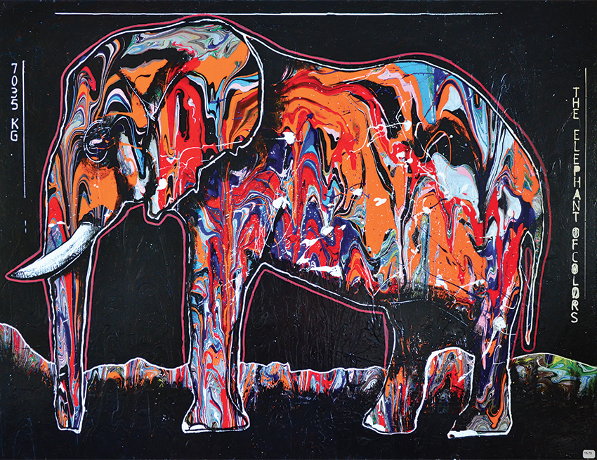 The elefant of colors - 80x80 cm - 700 € - Acrylique et spray sur toile